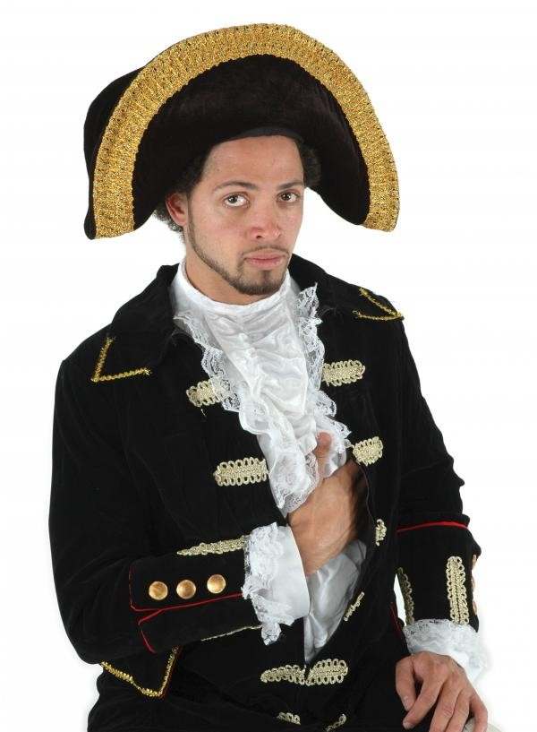 Tricorn, black, gold trim