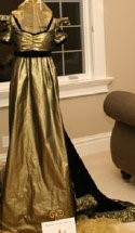 1800s Regency Antique Gold Gown, M