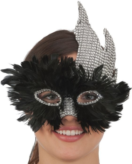 Mask, Black Feathers and Silver