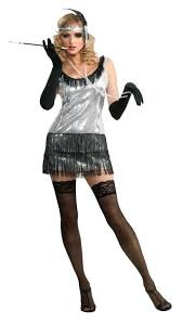 Sequin Flapper Dress Silver M