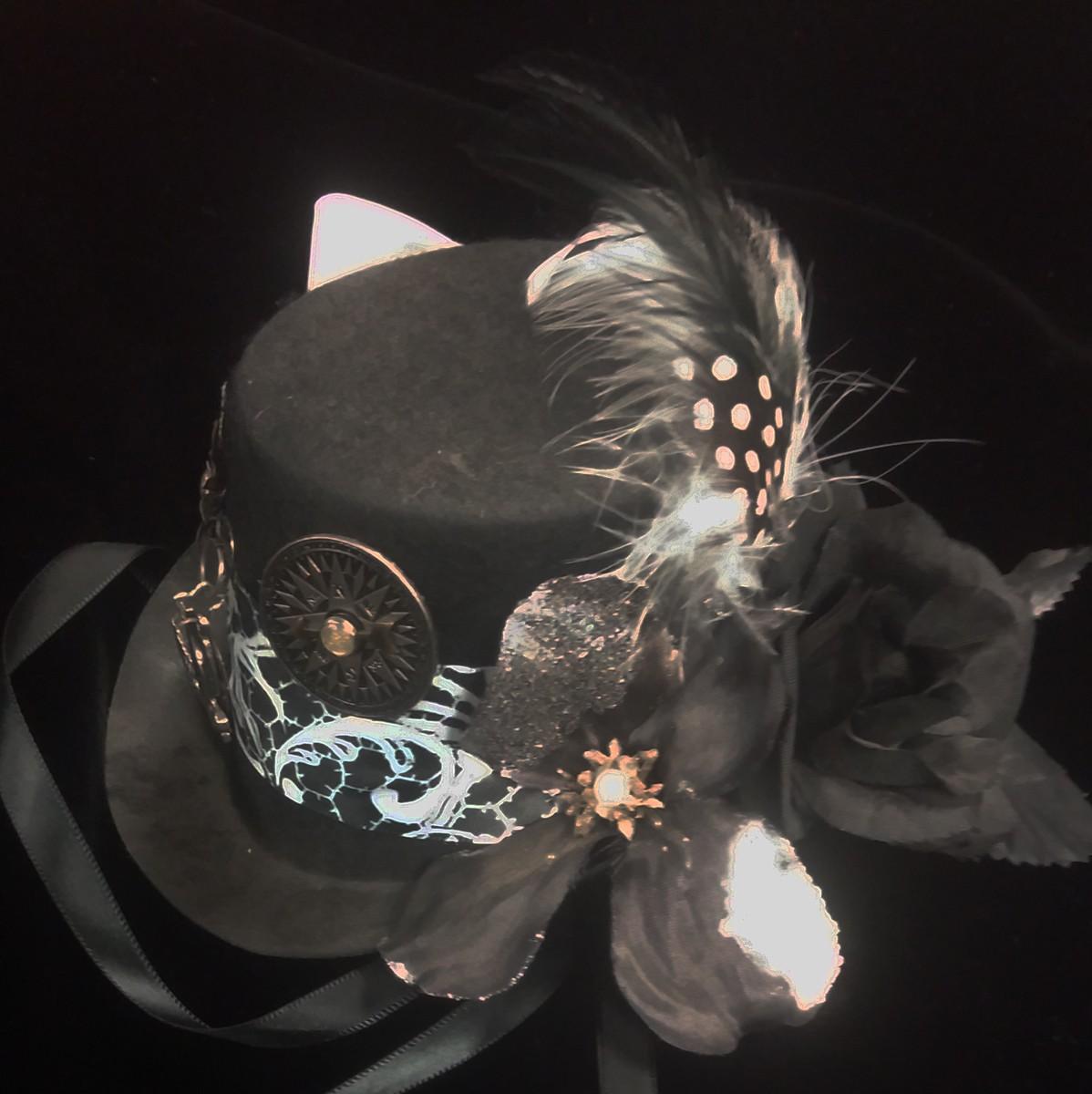 Mini Top Hat, Black White