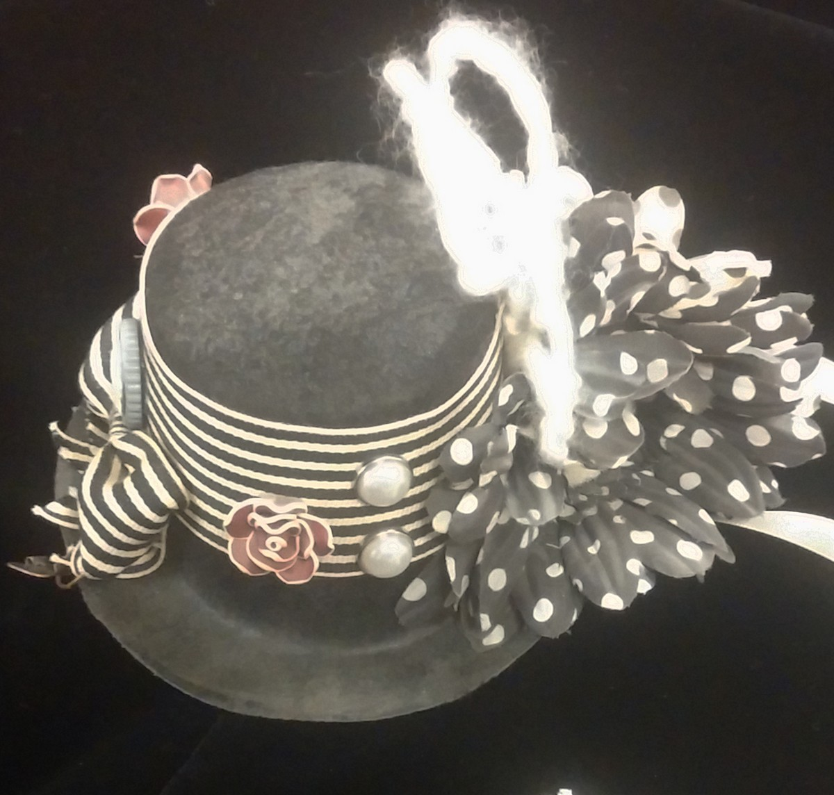 Mini Top Hat, Striped Bow