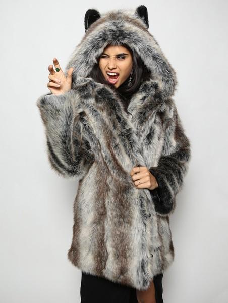 SpiritHoods Faux Fur Coat, Grey Wolf S