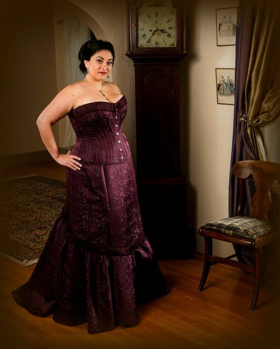 Plum 2 Piece Plus Size Couture Corset Masquerade Ball Gown