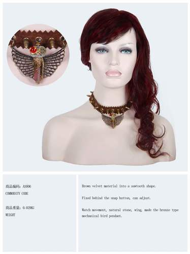 necklace, steampunk choker bull choker