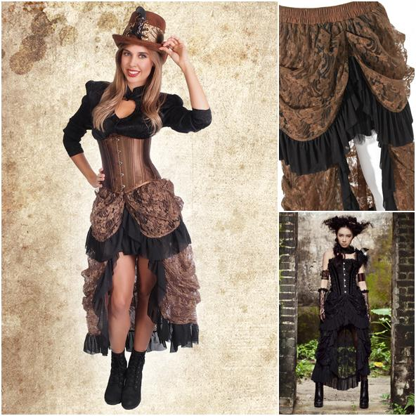 Skirt, Steampunk Lace Hi-Lo Large