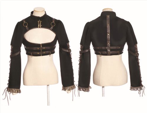 shirt, Black Steampunk Top with L