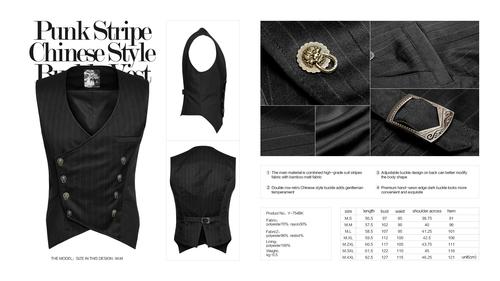 vest, Punk Stripe Chinese Style L