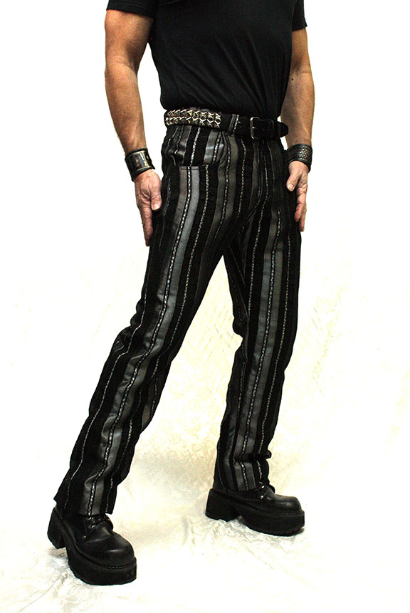 """Pants, Carny Striped 38"""" Silver"""
