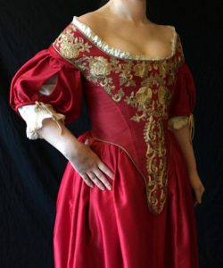 Historical Crimson Gold full ensemble- Boned Bodice, 17th century corset silk embroidered back lacing Undergarment Straps, size small or med
