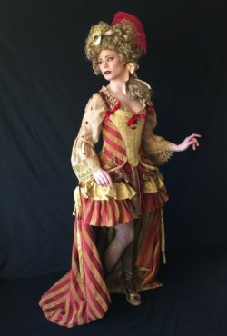 18th c. Masquerade Circus Striped Costume Ensemble, 4 piece set, Corset, Rustle Ruffle Pannier, chemise, and skirt, adjustable reversible