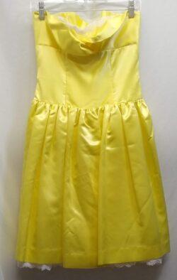 "Dress, Vintage Yellow Prom, bust 32"" waist 27"" XS S"