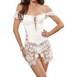 "Corset Skirt, Satin, Lace, size small 32 bust 34"" waist 26"" hip 34"""