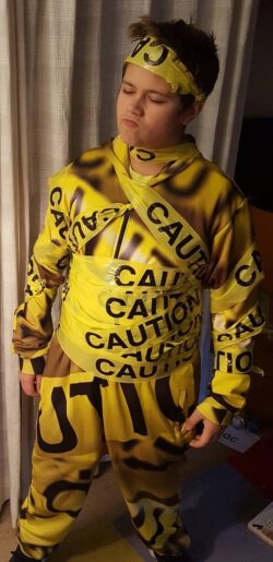 Caution Tape onesie jumpsuit 2X