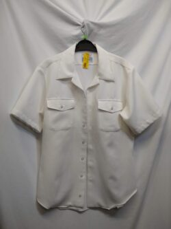 Plain White Navy Button Up L