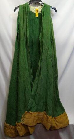 Burlap cloak, green & gold OS
